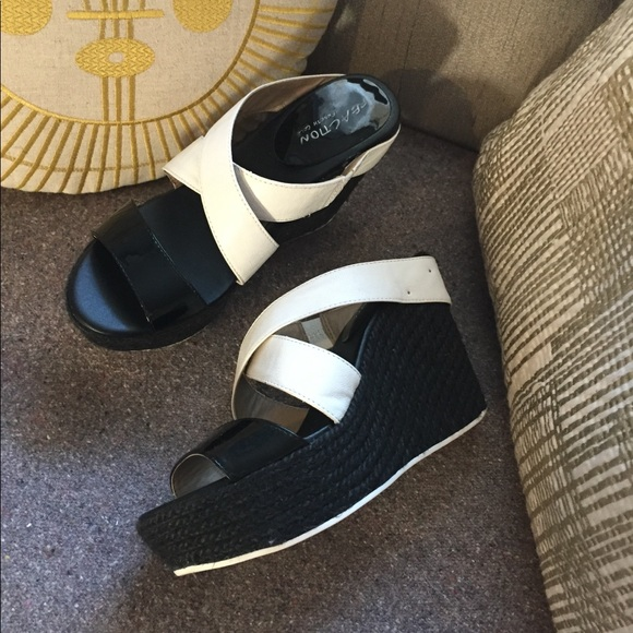 6d9a6b46ec6 Kenneth Cole Reaction Shoes - KENNETH COLE black white espadrille wedge 8.5